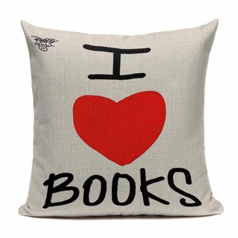 acheter coussin d coratif inscription livres housse de. Black Bedroom Furniture Sets. Home Design Ideas