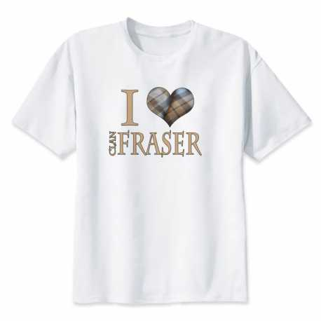 "T-shirt Blanc ""I Love Clan Fraser"""